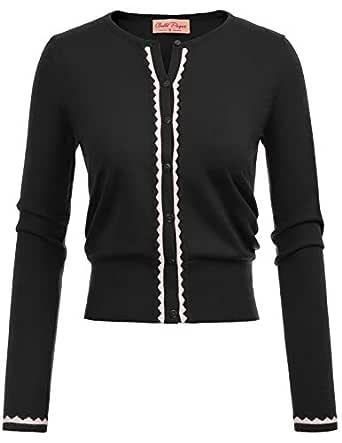 Belle Poque Women's Button Down Knitwear Long Sleeve Soft Knit Cardigan Shrug Small Black