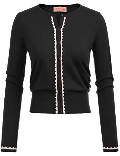 Women's Crew Neck Cardigan Plus Size Black XX-Large