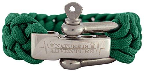 Nature is Adventure Paracord Survival Armband mit Edelstahlverschluss - Ideales Outdoor, Camping & Überlebens-Zubehör