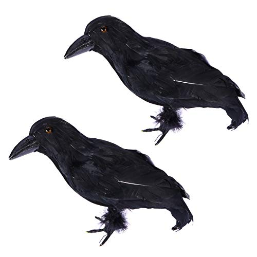 BESTOYARD Simulated Crowsハロウィーンのカラスの小道具黒の鳥の鳥の飾りハロウィンパーティーの装飾2PCS(ふわふわの腹)