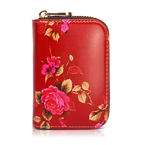 APHISON RFID Credit Card Holder Wallets for Women Leather Zipper Card Case for Ladies Girls/Gift Box 036