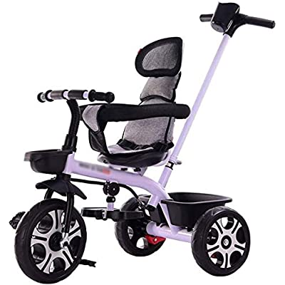 RRH Tricycle Kids Tricycle, with Removable Parents Push Handle Bar, Children 3 Wheel Pedal Bike, with Foam Tyres, for 1-6 Years Kids and Toddlers - 25 kg Capacity (Color : White): Home & Kitchen