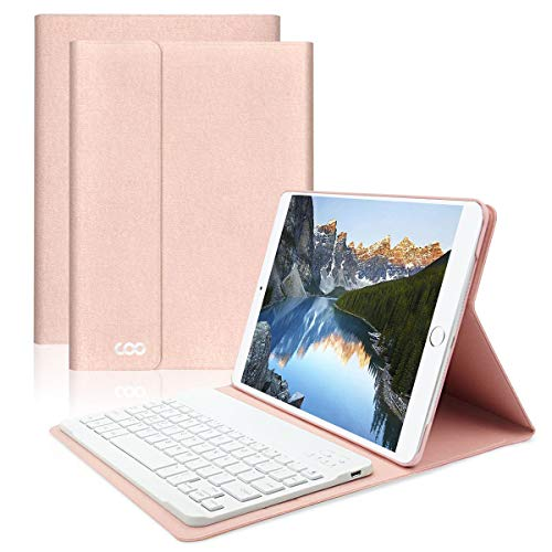 iPad 10.5 Keyboard Case for iPad Pro A1701/A1709 COO Built-in Wireless Bluetooth Keyboard and Slim Shell Magnetic PU Cover with Multi-Angle Stand Groove Featured with Tablet Sleep/Wakeup(Champagne) by COO
