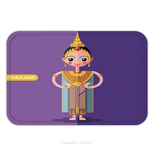 Thailand National Costume For Children (Flannel Microfiber Non-slip Rubber Backing Soft Absorbent Doormat Mat Rug Carpet Thailand National Costumes In Flat Style 465805451 for Indoor/Outdoor/Bathroom/Kitchen/Workstations)