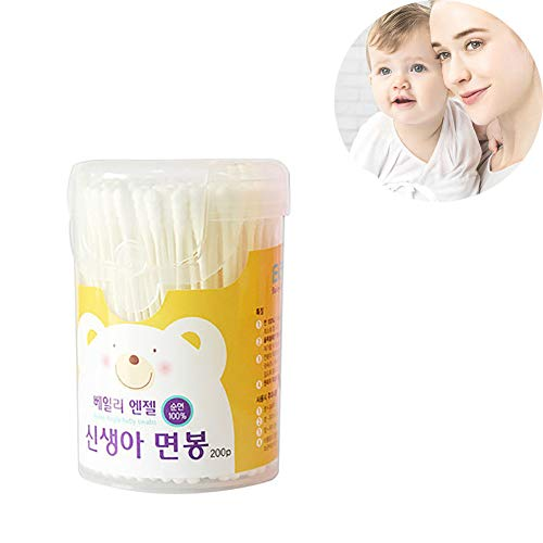 - Baby Safety Cotton Buds Box Superfine Paper Shaft Newborn Spiral Head Double Head Cotton Swab 600 Sticks.