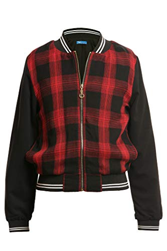 Truly Me, Big Girls' Plaid Print Fashion Bomber Jacket with All Star Graphic and Stripe Rib Bands, Size 7-16 (Red Black Multi, 7)