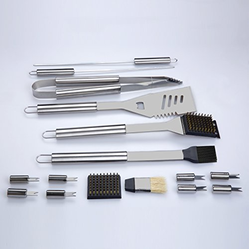 Barbestar 19 piece stainless steel bbq grill tool set for Pretty garden tools set
