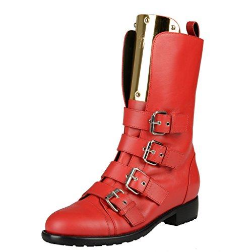 Giuseppe Zanotti Design Rood Lederen Motorlaarzen Schoenen Rood