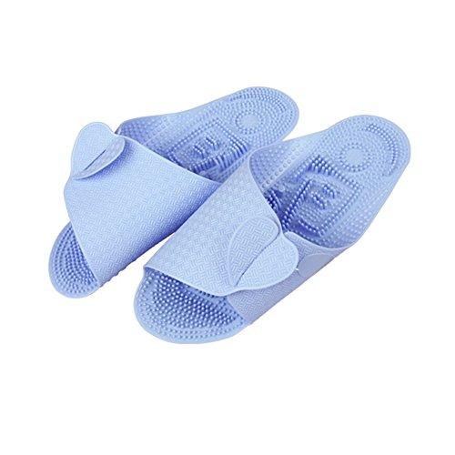 TELLW Badezimmer Hausschuhe für Männer und Frauen Indoor Home Points Pediküre Schuhe Paare Non-Slip Badezimmer Kühlen Sommer Hausschuhe Blau