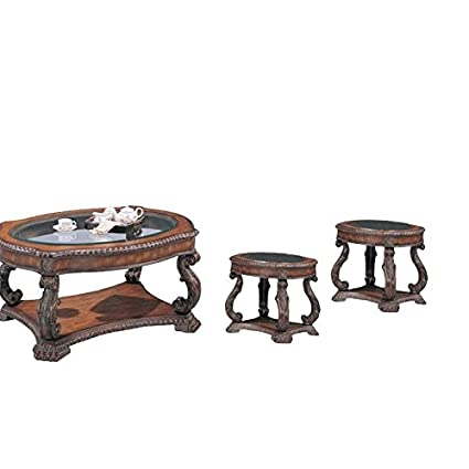 Amazoncom Home Square 3 Piece Traditional Coffee Table Set