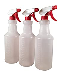 32-Oz Heavy-Duty Industrial Janitorial Spray Bottle with Adjustable Spray Head (Pack of 3)