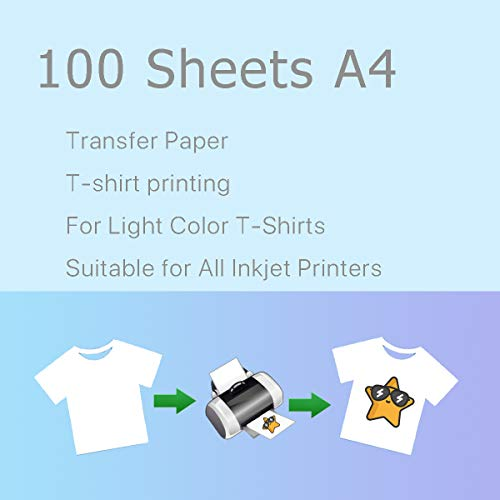 (A4 Iron On T-Shirt Transfer Paper For Light Fabric 100 Sheets # 640211G)