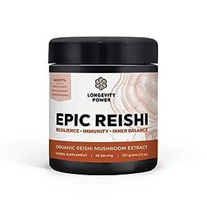 Epic Reishi, 100% Organic Medicinal Mushroom Formula, Stress Resilience, Inner Calm, Immune…