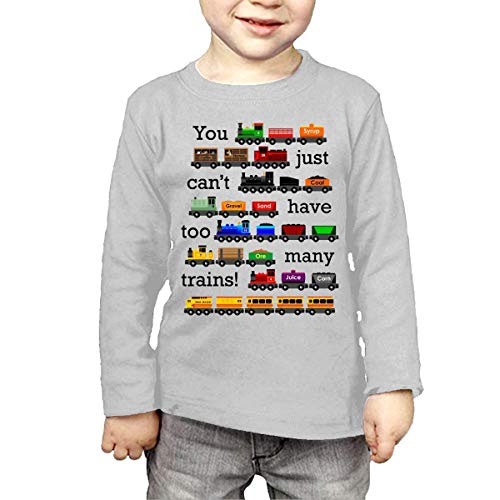 Waldeal Kids Too Many Trains Girls Boys Long Sleeve T-Shirts 4 Toddler Gray