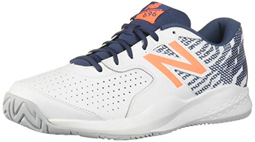 New Balance Men's 696v3 Hard Court Tennis Shoe, White/Dark Mango, 10 2E US