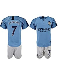 ALESS New Manchester City Sterling #7 Home Blue Youths/Kids Soccer Jersey