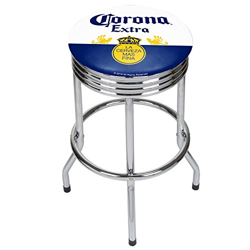 Trademark Gameroom CRN1005-LBL Corona Chrome Ribbed bar Stool - Label