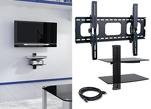 2xhome - NEW TV Wall Mount Bracket & Two (2) Double Shelf Package – Secure LED LCD Plasma Smart 3D WiFi Flat Panel Screen Monitor Moniter Display Large Displays - Dual 2 Tier Under TV Tempered Glass Floating Hanging Shelves Shelving Unit Rack Tower Set Bundle - Up to 15 degree degrees Tilt Tilting Tiltable Heavy Duty Strong Durable Support - Mounted Mounting Home Entertainment Media Center Multimedia Furniture Family Living Room Game Gaming