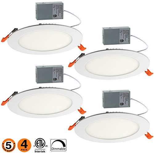 (Dimmable Slim Led Downlight 6 Inch Dimmable 12W (=100W) Led Downlight 950LM 3000K Warm White ETL Listed Recessed Trim Ceiling Light Fixture 4 Pack-30K )
