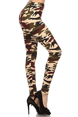 Leggings Depot Ultra Soft Women's Popular BEST Printed REGULAR and PLUS Size Fashion Leggings Batch16 (Regular (Size 0-12), New Military)