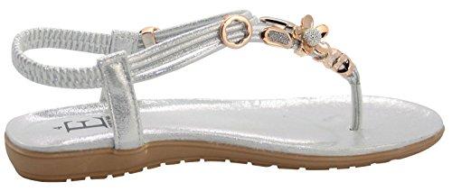 Emma Shoes Ladies Sling Back Opium Toe Post Sandals Silver Fy57mcrt