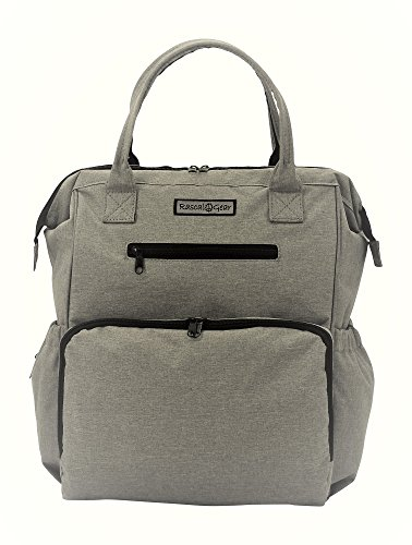 Sale!! Rascal Gear Multipurpose Waterproof Baby Diaper Bag Backpack, Tote, Shoulder Or Cross Body with Insulated Bottle Pockets, Stroller Straps, Changing Pad, Wet Bag; The Jamie Bag (Grey)
