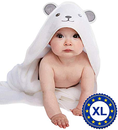 X - Large Bamboo Bath Towel for Toddler and Kids - 37.5 x 37.5 inches - Hooded Bath Towels with Ears for Babies - Super Absorbent - Perfect Baby Shower Gift - 1-6 Year