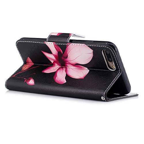Artfeel iPhone 7 Hülle,iPhone 8 Wallet Flip Hülle, Stilvoll Farbmalerei Muster Tasche,[Magnetverschluss] Premium PU Bookstyle Leder Brieftasche mit Kredit Kartenfächer und Klapptasche Stoßfest Schutz  Lotus
