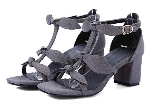 Aisun Donna Open Toe Con Fibbia Tacco Medio A Blocchi Tacchi Eleganti Sandali Con Cinturino Alla Caviglia E Fiocchi Grigi