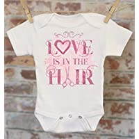 Love Is in The Hair Pink Onesie®, Funny Girls Onesie, Baby Shower Gift, Cute Baby Clothes, Boho Baby Bodysuit, Hairstylist Mom