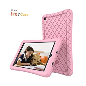 Fire 7 Case,Kindle Fire 7,Soft Silicone Case Tablet for All-New Amazon Fire 7 Tablet(7th Generation, 2017 Release) - [Anti Slip] Shockproof Back Cover [Kids Frienly] Light Weight Pink