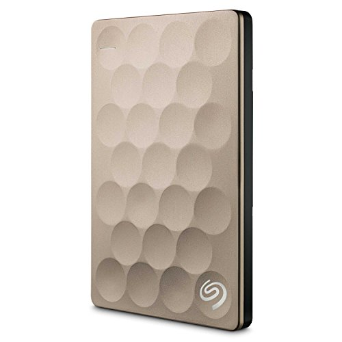 Seagate Backup Plus Ultra Slim 2TB, gold, externe tragbare Festplatte inkl. Backup-Software, USB 3.0, PC + MAC + PS4 (STEH2000201)