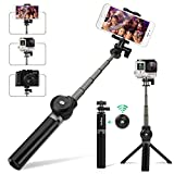 Selfie Stick Tripod, Leelbox Bluetooth Selfie Stick with Tripod Stand and Detachable Wireless Remote, Extendable Monopod for Gopro Camera iPhoneX/8/7/7 Plus /6S/6/6 Plus/5s,Galaxy S5/S6 Edge/ S8/S7/ S7 Edge and Other Android Machines
