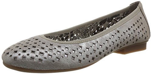 Rieker 43457 - Bailarinas de cuero para mujer gris - Grau (maus / 42)