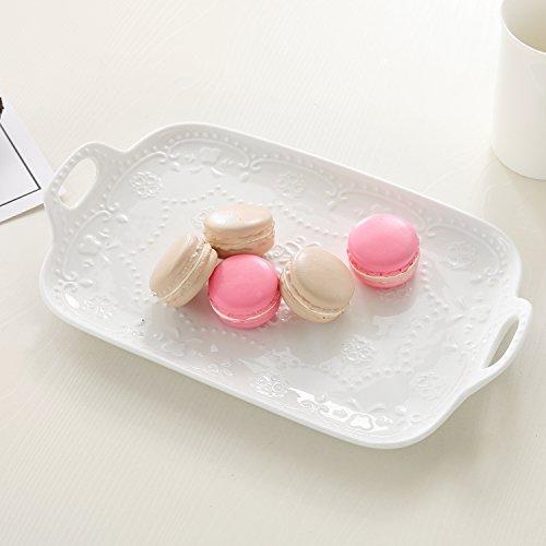 Vintage White Fleur-de-Lis 11 Inch Ceramic Cheese & Snack Platter, Decorative Serving Tray with Handles - Antique White Tea Server