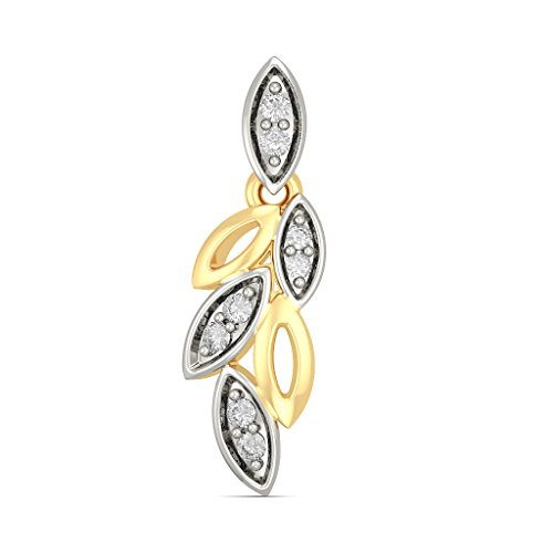 14 K Or jaune 0.18 CT TW White-diamond (IJ | SI) Pendants d'oreilles