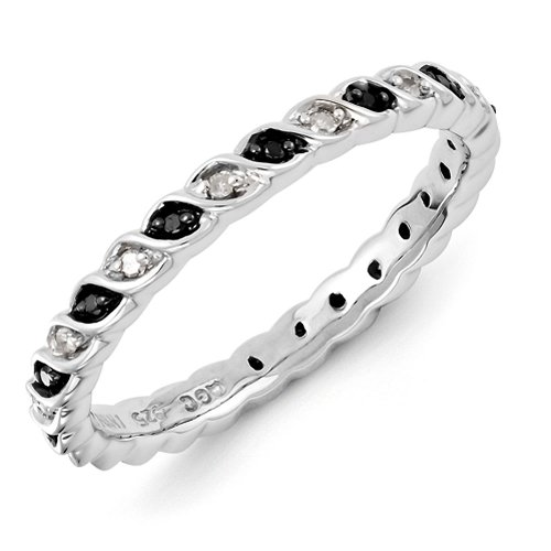 2.25mm Sterling Silver Swirl Black and White Diamond Prong Set Eternity Anniversary Ring Band - Size 7 by Stackable Expressions