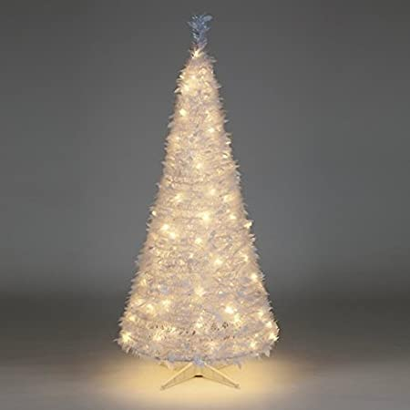 6ft pre lit white holly pop up christmas tree with 200 warm white lights