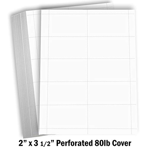 Hamilco Blank Business Cards Card Stock Paper - White Mini Note Index Perforated Cardstock for Printer - Heavy Weight 80 lb 3 1/2 x 2