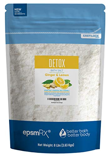 Detox Bath Salt Bulk Size 128oz (8-Lbs) Epsom Salt Bath Soak With Ginger &  Lemon Essential Oils Plus Vitamin C - Detox Your Body & Mind With An All