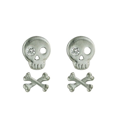 Tisoro Sterling Silver Skull & Crossbones Earrings SET with Clear Cubic Zirconia Eye -100% Hypoallergenic & Nickel/Lead (Skull And Crossbone Costume Jewelry)