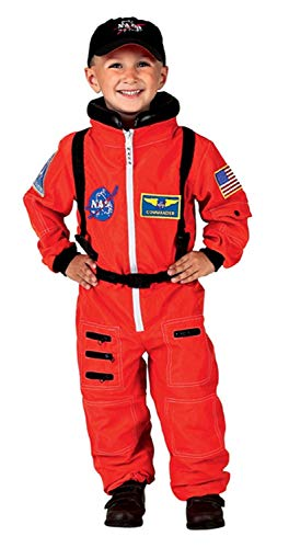 Aeromax Jr. Astronaut Suit with Embroidered Cap and NASA patches, ORANGE, Size 8/10 ()
