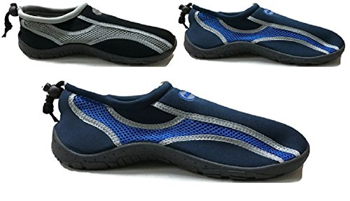 Mens Waterproof Water Shoes Aqua Socks Beach Pool Yoga Exercise, Navy/Royal 11