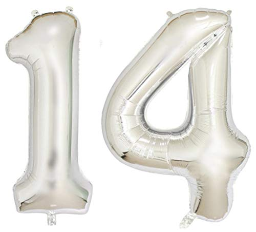 ZiYan 40 Inch Giant 14th Silver Number Balloons,Birthday/Party balloons]()