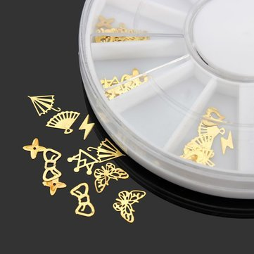 Bumatech Nail Decoration - 3d Gold Metal Diy Nail Art Decoration Sticker Wheel - 3d Nail Decorations For Art Decoration Metal 100pcs Japan 1440pcs Flat Back Rhinestone Mermaid Nails Shell Seashell -