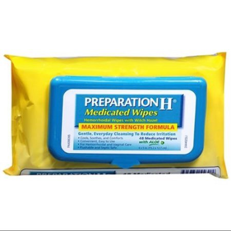 Price comparison product image Preparation H Medicated Wipes 48 Each (Pack of 2)