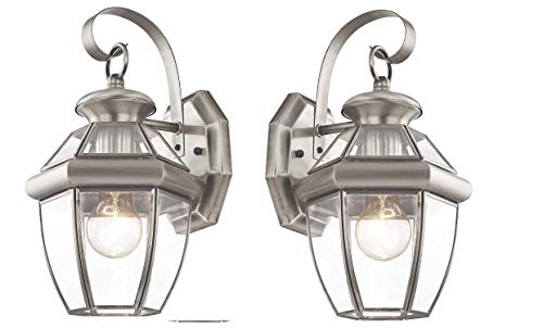 Livex Lighting Monterey 1 Light Outdoor Brushed Nickel Finish Solid Brass Wall Lantern with Clear Beveled Glass (2 Pack) ()