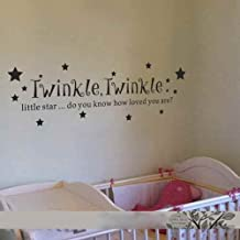 Baby Nursery Room Vinyl Wall Decal - Twinkle Twinkle Little Star Kids Room Decor(White,m£©