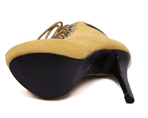 Taille 38 Talons Noir Bottines Femme 15 39 35 40 37 Chaussure Cm Lacets 36 À Aiguilles Brun Suédé Mode Padgene wx7apq4a