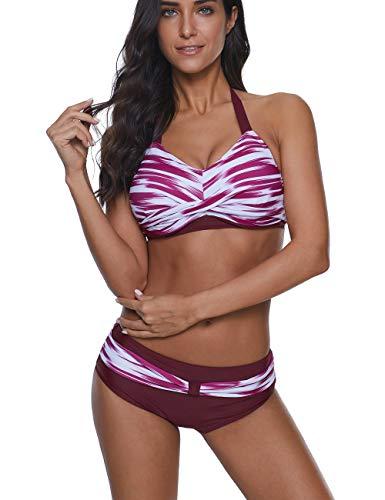 (TUTUESTHER Two Piece Bikini Set for Women Halter Neck Printed Bikini Top with High Waist Bottom Padded Swimsuits(XX-Large(US 12-14),Burgundy))